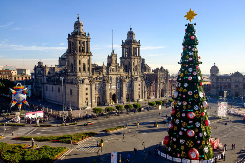 View of Zocalo, cathedral and Christmas tree in Mexico city. Mexico royalty free stock photo