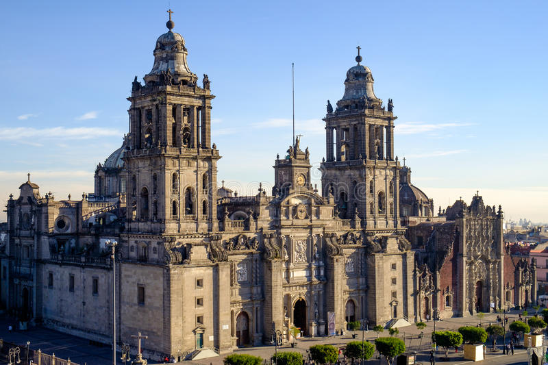 View of Zocalo square and cathedral in Mexico city. Mexico royalty free stock photos