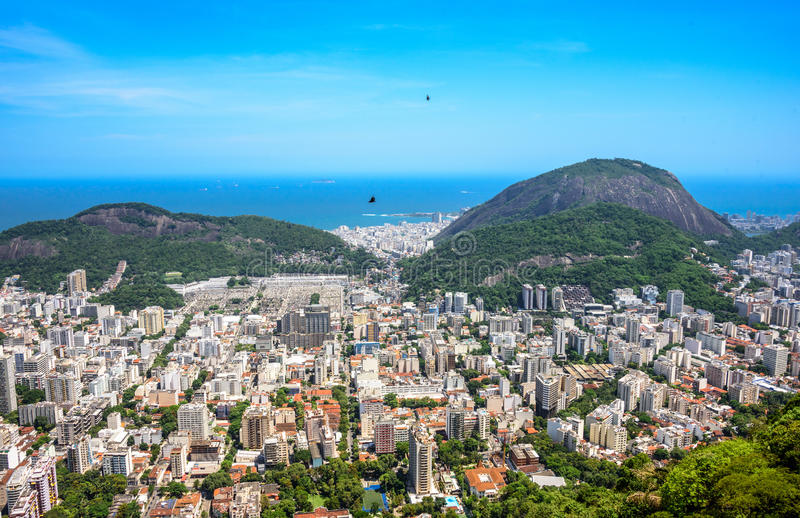 View on Zona Sul - Botafogo, Humaita, Copacabana, Rio de Janeiro, Brazil. View on Zona Sul - Botafogo, Humaita, Copacabana from Mirante Dona Marta at the royalty free stock photography
