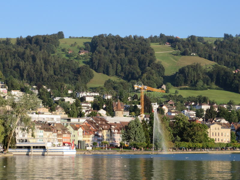 Download View On Zugersee, Zug Town And Mountain Slope Editorial Stock Photo - Image: 83712073