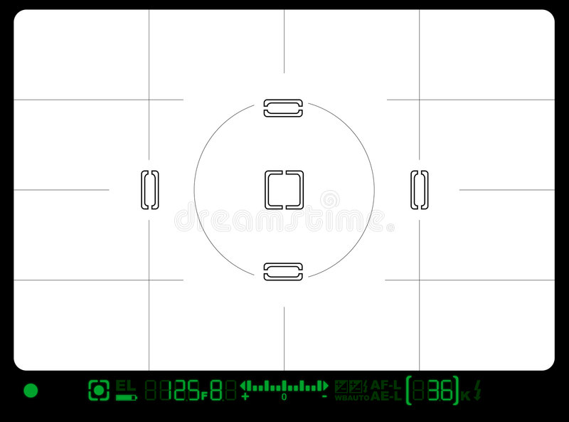 Viewfinder. Very detailed viewfinder of a modern SLR with grid royalty free illustration