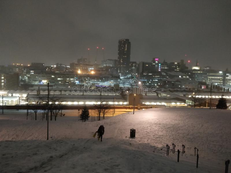 Sheffield city night in snow stock images