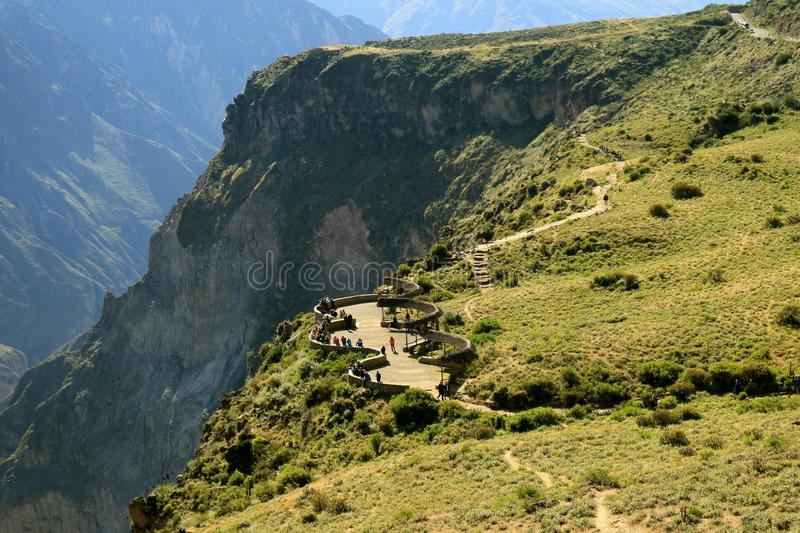 The Viewing Balcony for Andean Condor Watching at Colca Canyon in Peru stock image