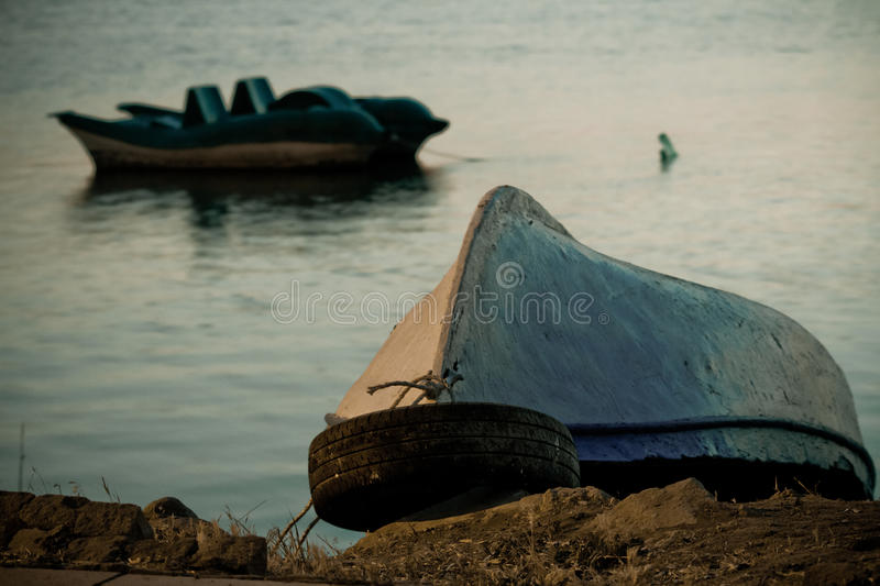 Viewing a Fishing Boat Docked royalty free stock photography