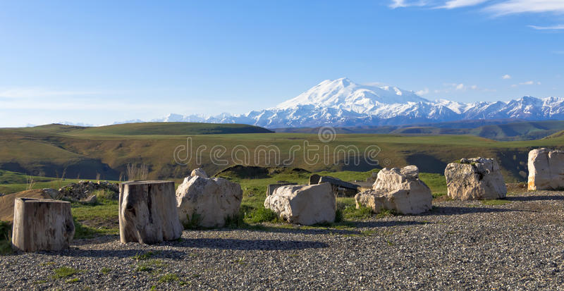 Viewing platform overlooking the Elbrus.Pass Gumbashi. The North Caucasus.Russia royalty free stock photos