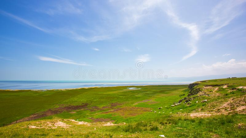 Viewing Qinghai Lake from the west side of Qinghai Lake. stock image