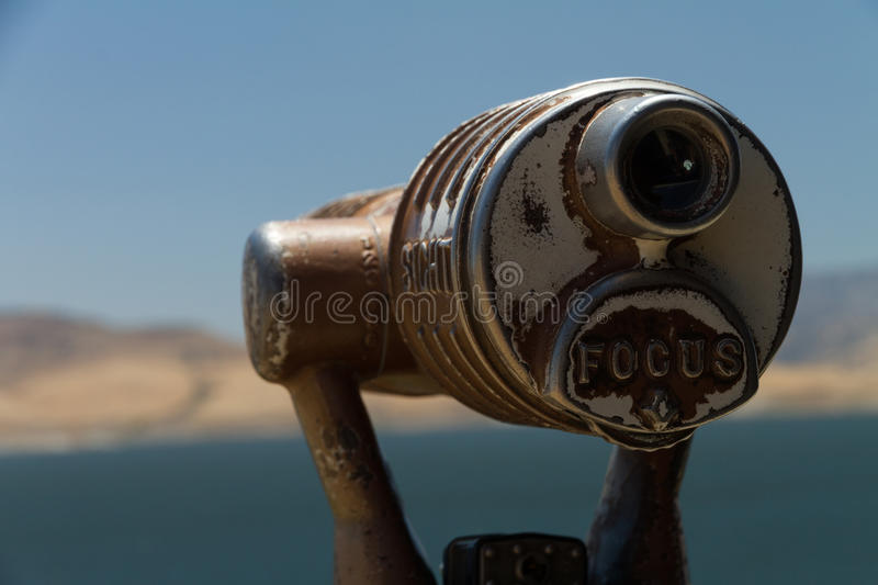 Viewing scope with focus in front stock photos