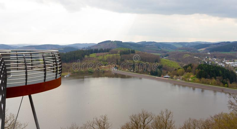 Viewing from the Sky Walk to the Biggesee near Attendorn. Germany stock photography
