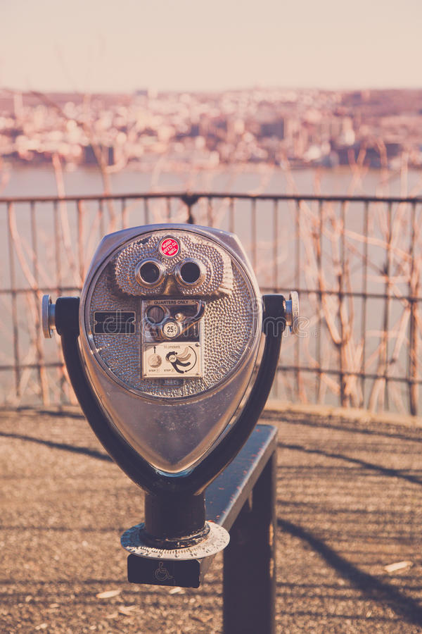 Viewmaster View of Yonkers from Palisades Interstate Parkway. ALPINE, NEW JERSEY, UNITED STATES - January 1, 2017: A viewmaster overlooking the Hudson River stock photography