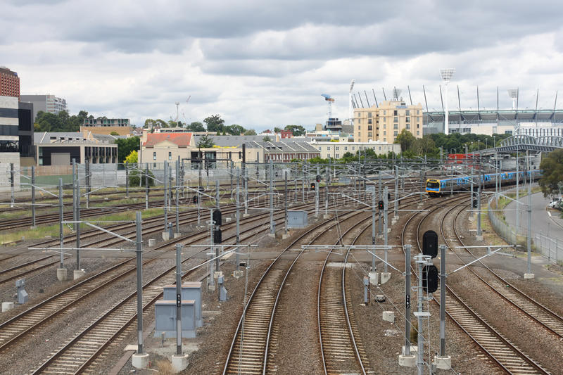 Viewn on a railway and coming train in Melbourne near Cricket Gr stock photos