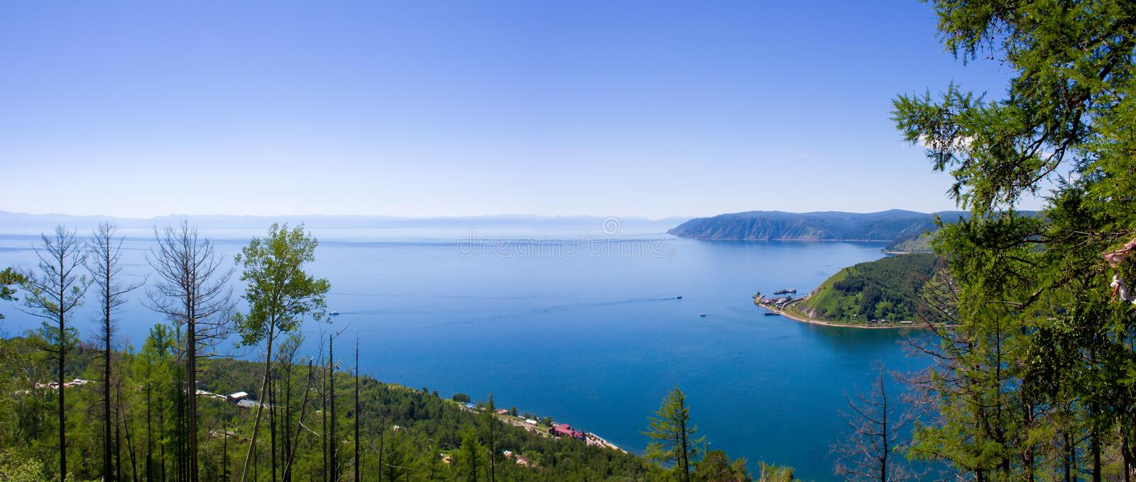 Viewpoint of the Angara River flowing from Lake Baikal, Siberia, Russia royalty free stock photography