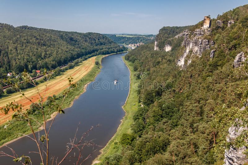 Viewpoint in the Elbe Sandstone Mountains with views of the Elbe. Germany stock photo