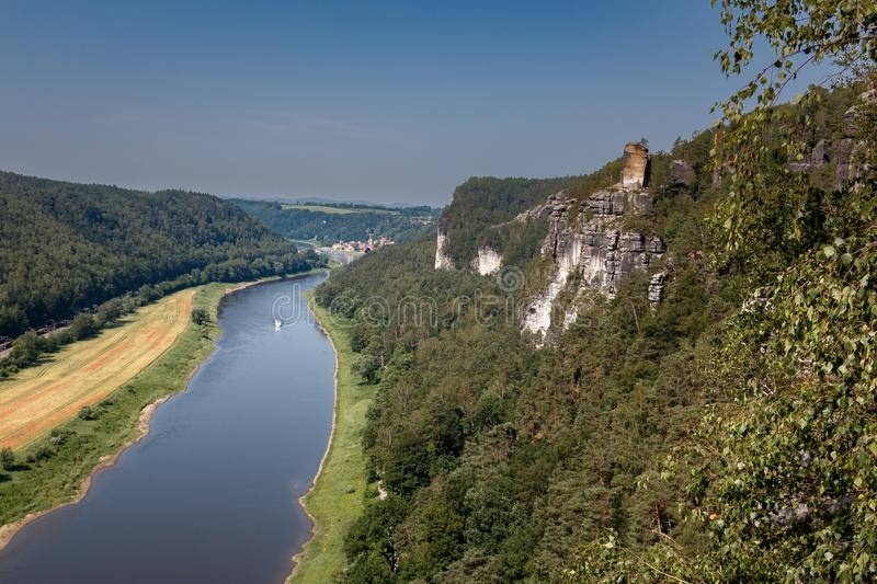 Viewpoint in the Elbe Sandstone Mountains with views of the Elbe Sandstone Mountains in Saxon Switzerland. Germany royalty free stock image