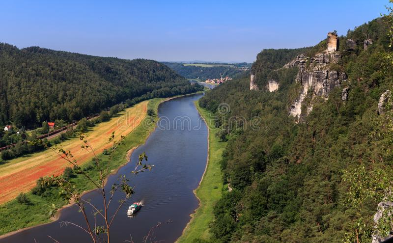 Viewpoint in the Elbe Sandstone Mountains with views of the Elbe. Germany royalty free stock photo