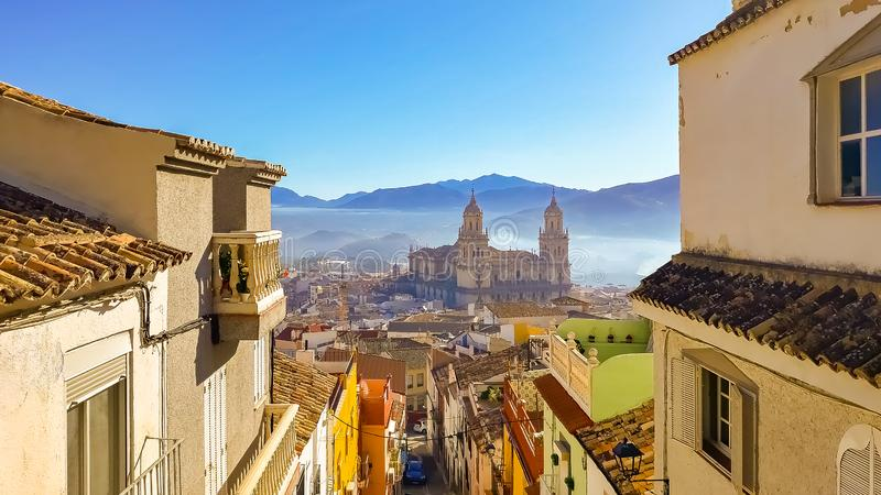 Viewpoint on gorgeous Cathedral of Jaen, Spain royalty free stock image
