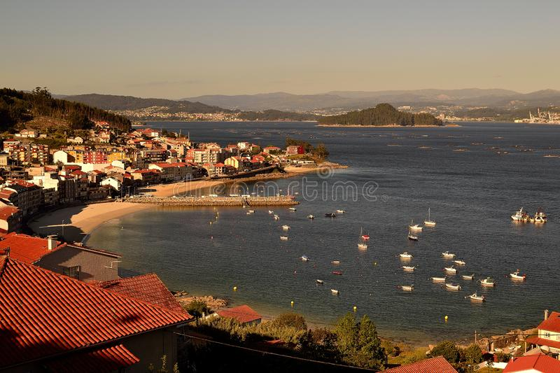 Viewpoint of Granxa to the Pontevedra estuary with the island of Tambo and the town of Raxó, Galicia. Views from the viewpoint of Granxa to the Pontevedra stock images