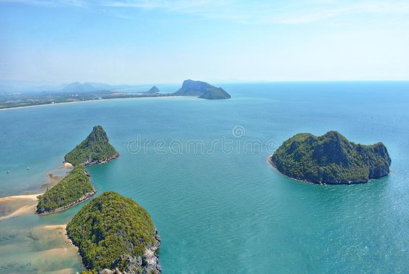 Viewpoint of the Gulf of Thailand, Prachuap Khiri Khan Province, Thailand. Tourists conquer the peaks for a sea view.. Iron capsules and zinc capsules on the stock photography