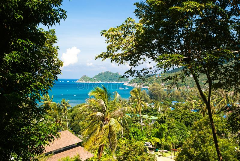 Viewpoint on Koh Tao.Thailand. View of the Bay and Koh Nang yuan Islands.  stock photo