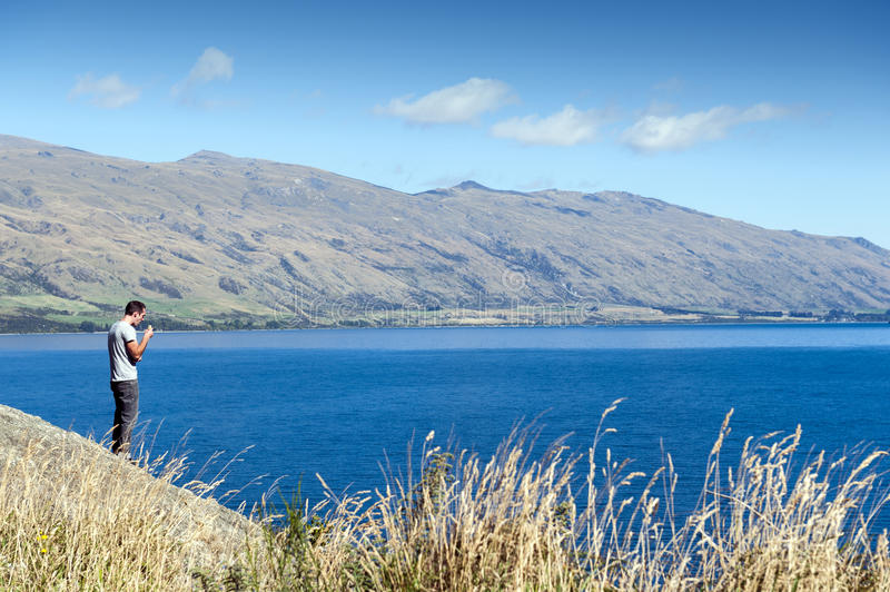 Viewpoint of Lake Wakatipu at the Devil's Staircase, Queenstown, South island of New Zealand royalty free stock photos