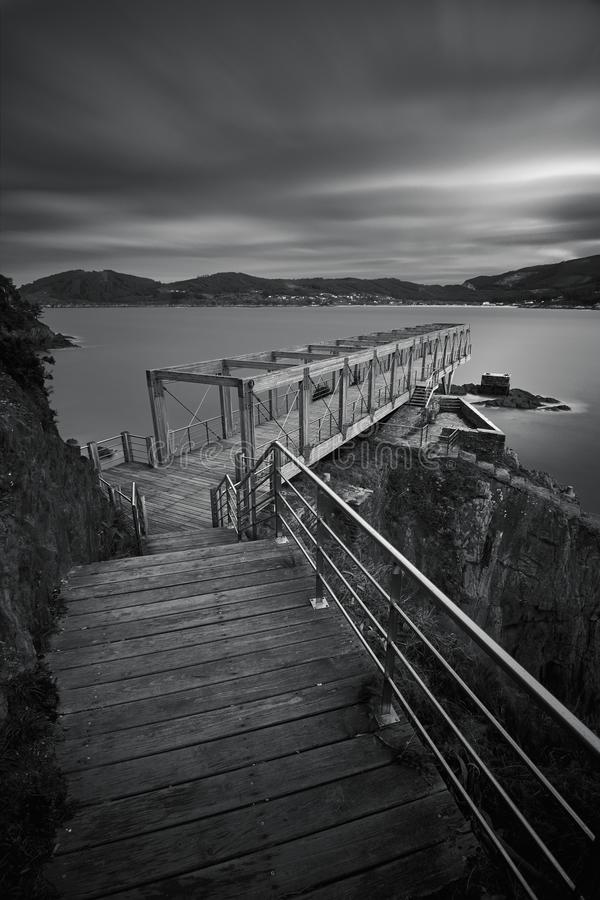 Viewpoint of an old mine B/W royalty free stock photography