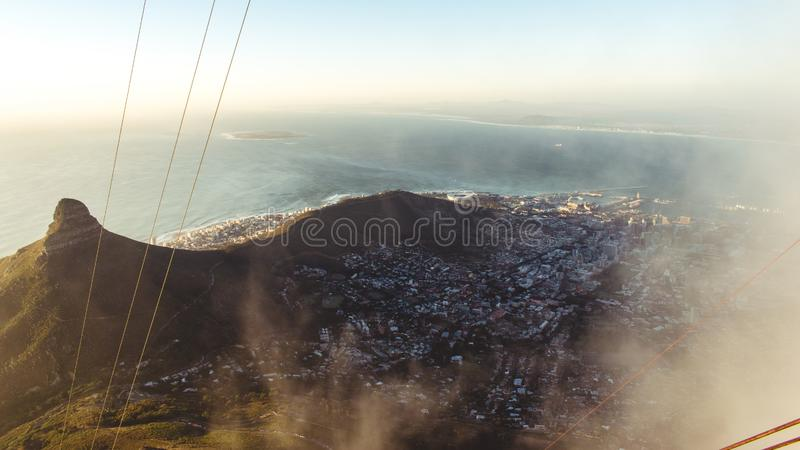 Quick glimpse trough the clouds on table mountain, Cape Town, South Africa royalty free stock photos
