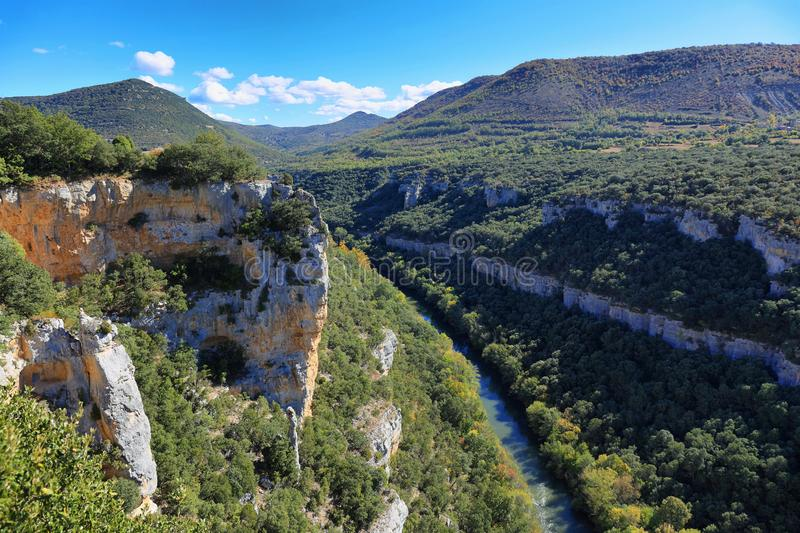 Viewpoint to the river Ebro Canyon in Spain stock photo