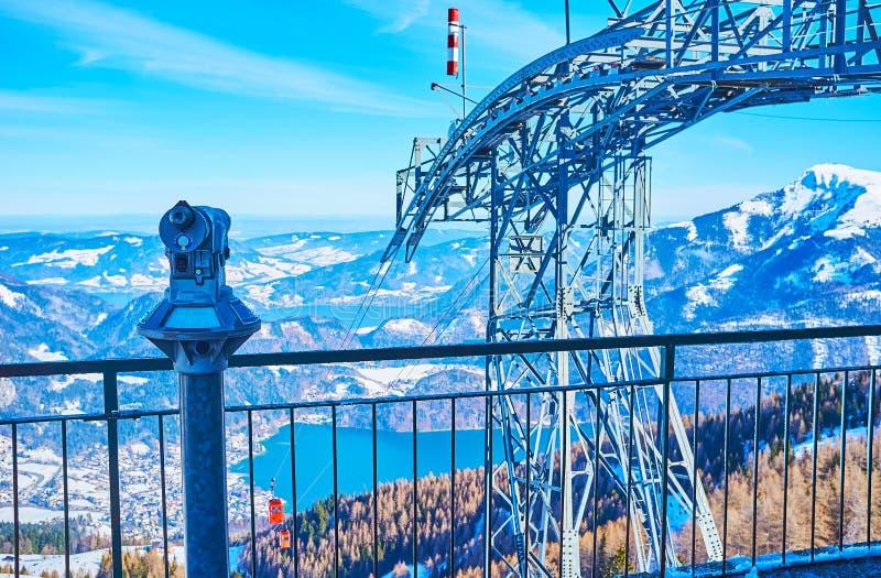 The viewpoint on top of Zwolferhorn, St Gilgen, Salzkammergut, Austria stock photos