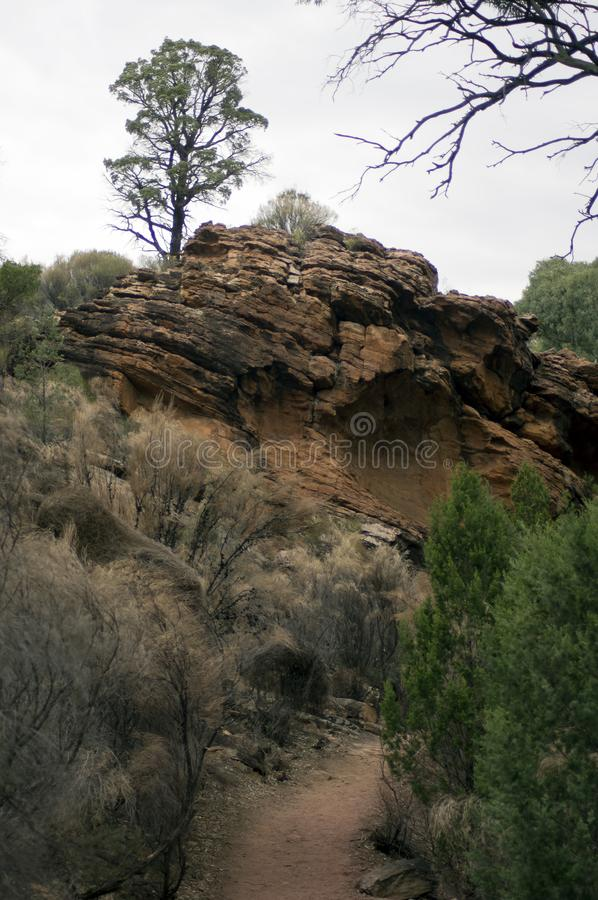 Views along walk from resort into Wilpena Pound, SA, Australia. Walking trail, Wilpena Pound, Flinders` Ranges, South Australia, Australia stock photography