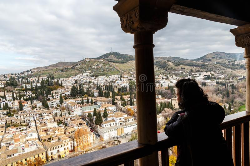 Views from the balcony at Alhambra. Spectacular balcony views from Alhambra of the Granada districts Albaicin and Sacromonte royalty free stock photo