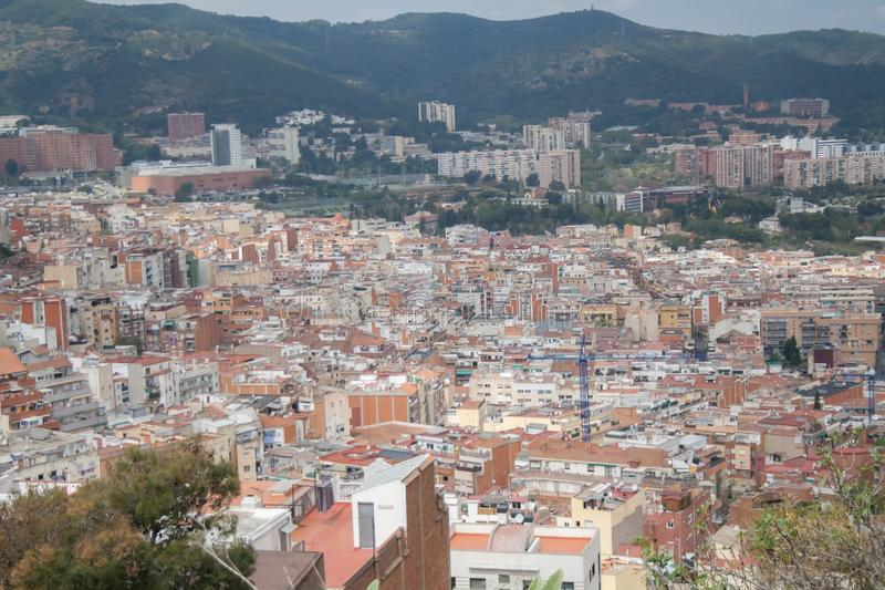 Barcelona, Spain skyline in the day. View from the top of the city. royalty free stock photo