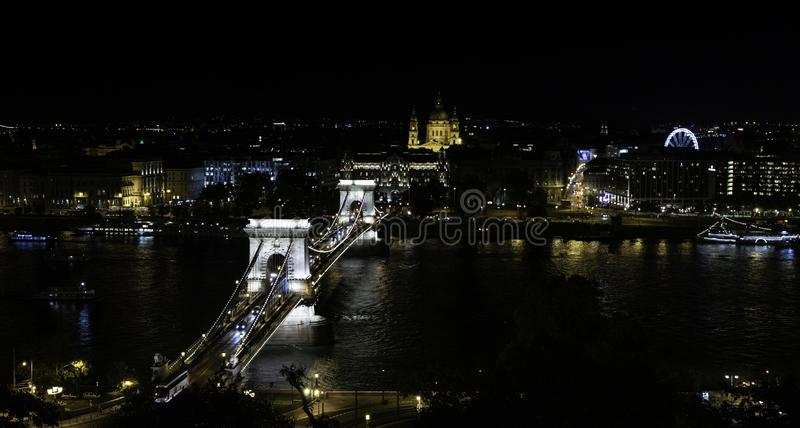 View of the Bridge of the Cadentas and the Cathedral from the viewpoint located in the Buda Castle, Budapest, Hungary. Views of the Bridge of the Cadentas, the royalty free stock photo