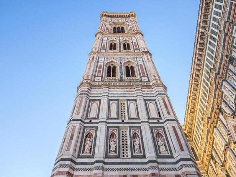 Views of the Campanile di Giotto in Firenze, Italy. Side Views of the Campanile di Giotto in Firenze, Italy stock images
