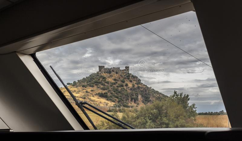 Views of a castle from the train royalty free stock photo