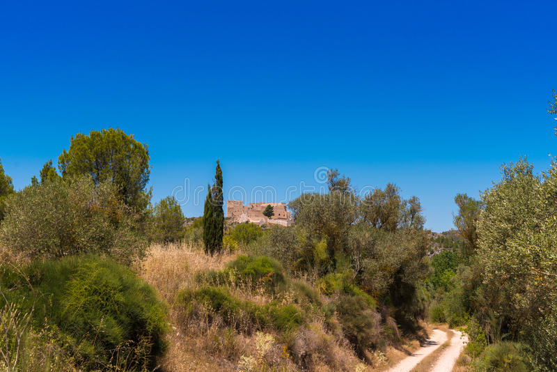 Views of the castle of Miravet, Tarragona, Catalunya, Spain. Copy space for text. royalty free stock photos
