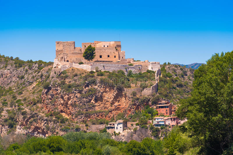 Views of the castle of Miravet, Tarragona, Catalunya, Spain. Copy space for text. stock images