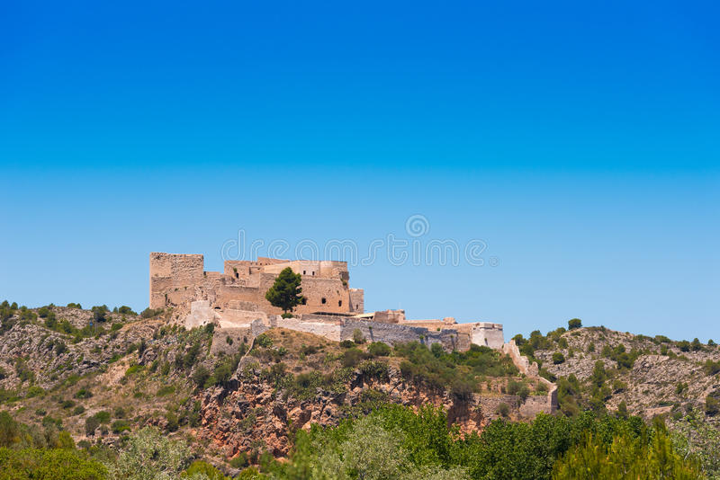 Views of the castle of Miravet, Tarragona, Catalunya, Spain. Copy space for text. stock photo