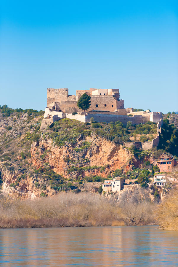 Views of the castle of Miravet, Tarragona, Catalunya, Spain. Vertical. Copy space for text. stock photography