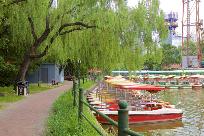 Chaoyang park, Beijing. Views in Chaoyang park, Beijing, China - water activities stock images