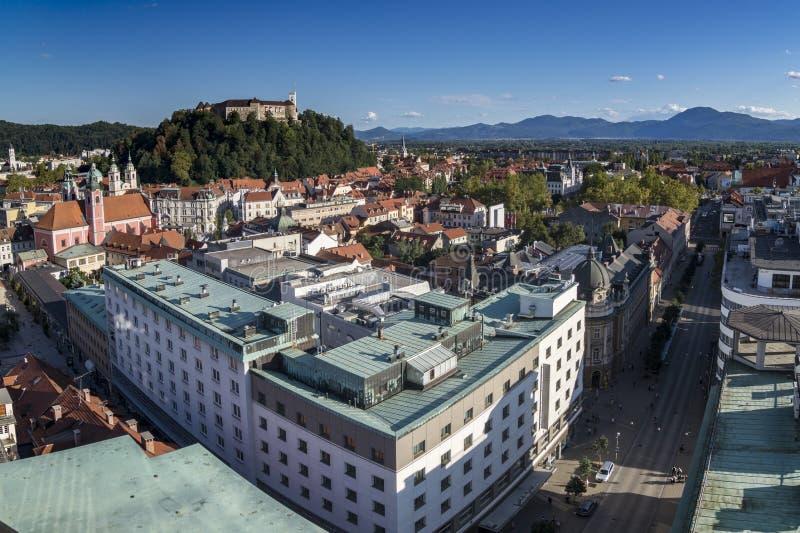 Views of the city of Ljubljana, with the Castle `Ljubljana grad` in the background. Ljubljana, Slovenia. Views of the city of Ljubljana, with the Slovenska royalty free stock images