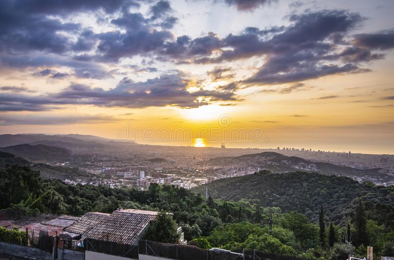 Views of the city at sunrise royalty free stock photos