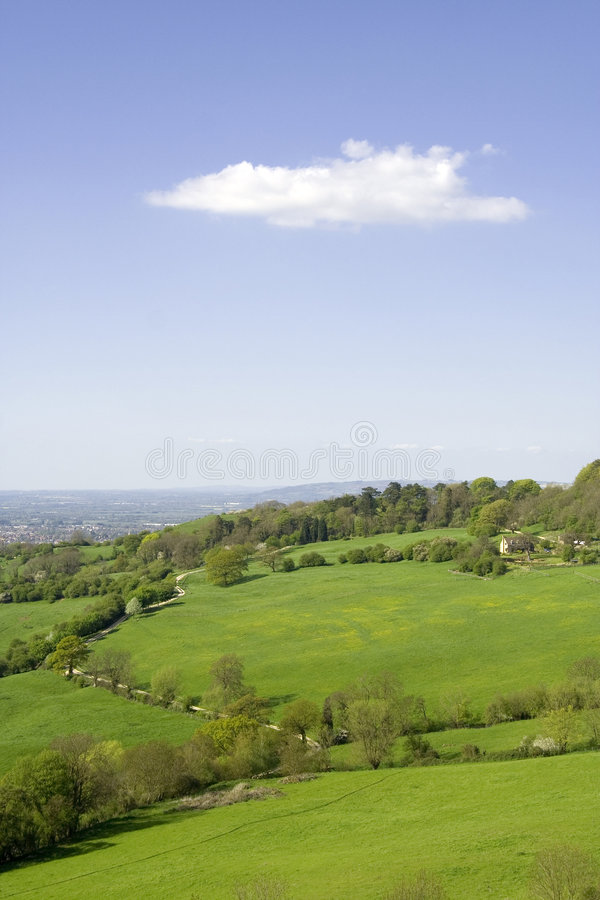 Views from Crickley Hill Country park near Gloucester. And Cheltenham site of Neolithic Iron Age Hillfort Gloucestershire The Midlands England royalty free stock photography