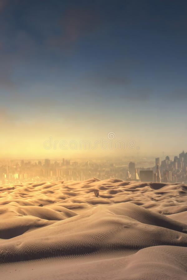 Views of the desert and the old city. Desert, old city, foggy city stock photography