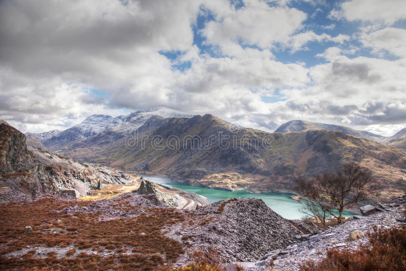 Llanberis. Views down to Llanberis and Llyn Peris and Padarn Snowdonia National park royalty free stock photography