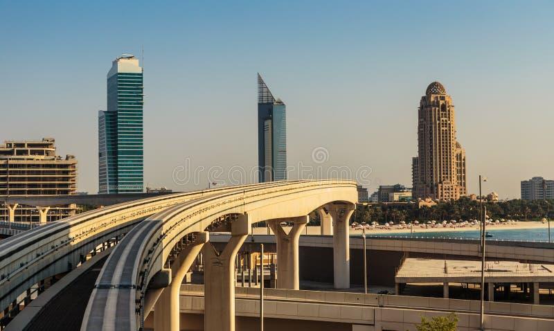 Views of the Dubai Marina from the island of Palm Jumeirah stock photo