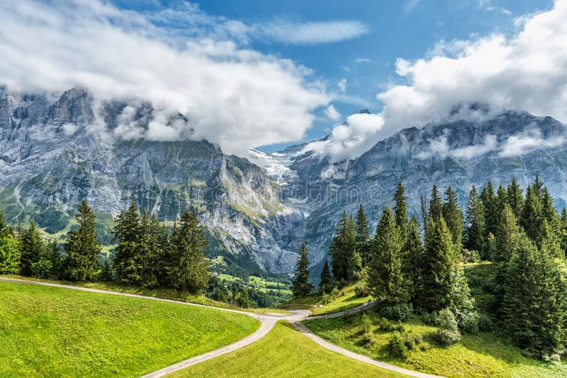 Views from First Mountain in Grindelwald, Switzerland royalty free stock photos
