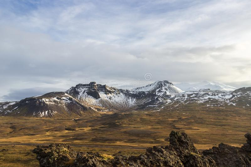 Views of the glacier Snaefellsjokull  Iceland stock photography