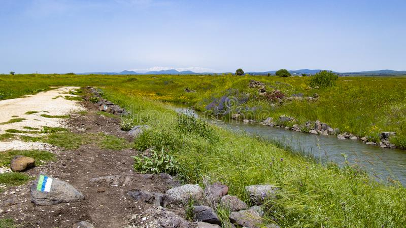 Golan Heights nature Trail - spring 2019. Views of the Golan Heights fron the Golan Trail, a pice of nature in northern israel royalty free stock image