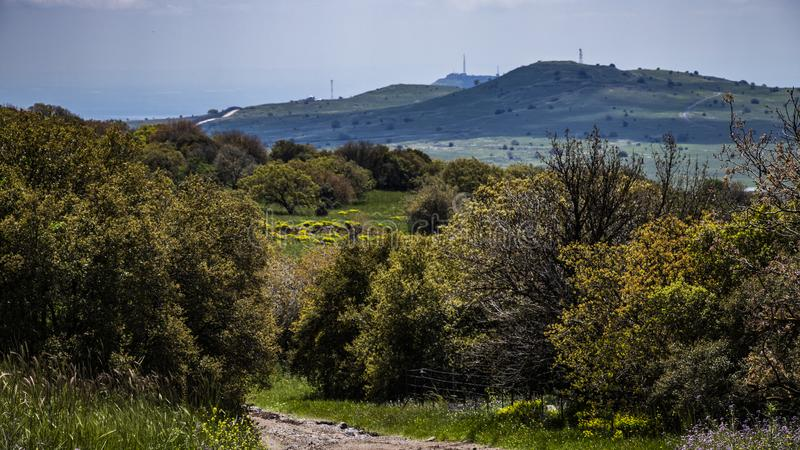 Golan Heights nature Trail - spring 2019. Views of the Golan Heights fron the Golan Trail, a pice of nature in northern israel royalty free stock photo