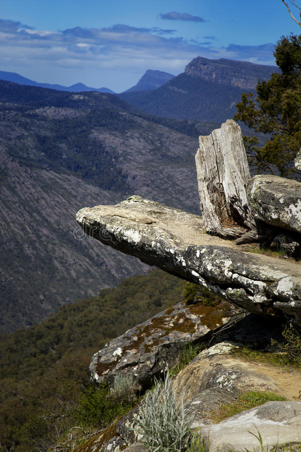 Views on Grampians in Australia. Rocks and mountains in background at Baroka look out near Halls Gap in Grampians National Park royalty free stock photos