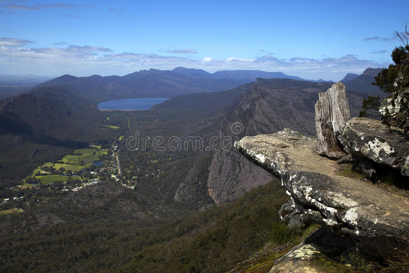 Views on Grampians in Australia. Rocks and mountains in background at Baroka look out near Halls Gap in Grampians National Park stock photos